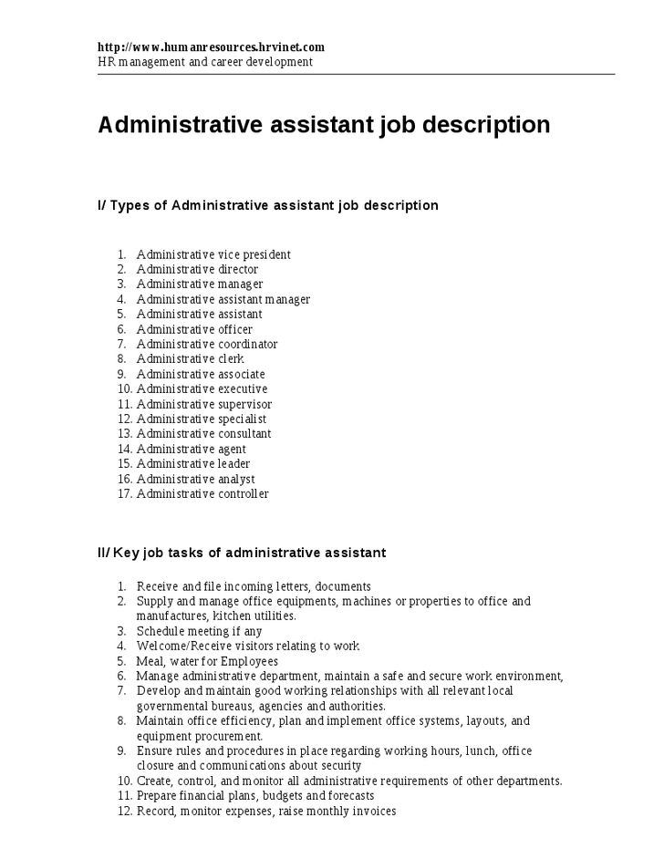 Resource type administrative assistant job description and key job task of adminitrative assistant