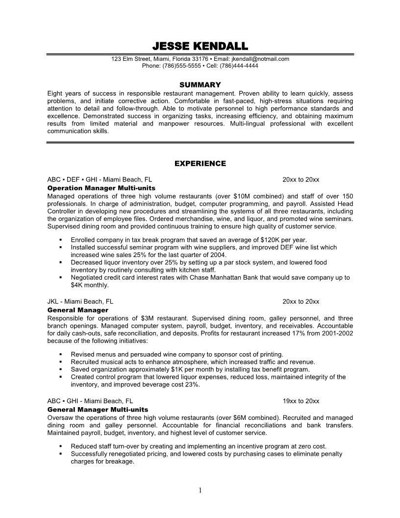 Restaurant Duties for Resume Operation manager experience Restaurant general multi unit Manager Resume Sample