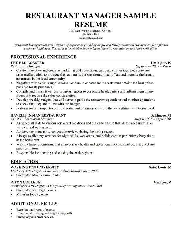 14 sample restaurant manager resume samplebusinessresume