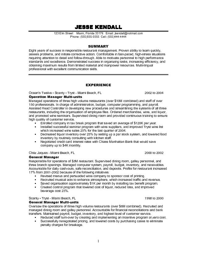 Restaurant Skills to Put on a Resume aslo Restaurant Manager Resume Sample