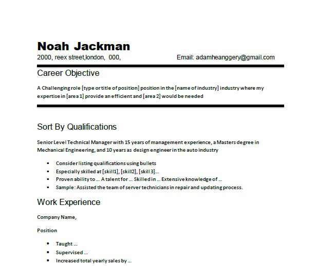 resume career objective example chronological resume of technical manager - Examples Of Chronological Resumes