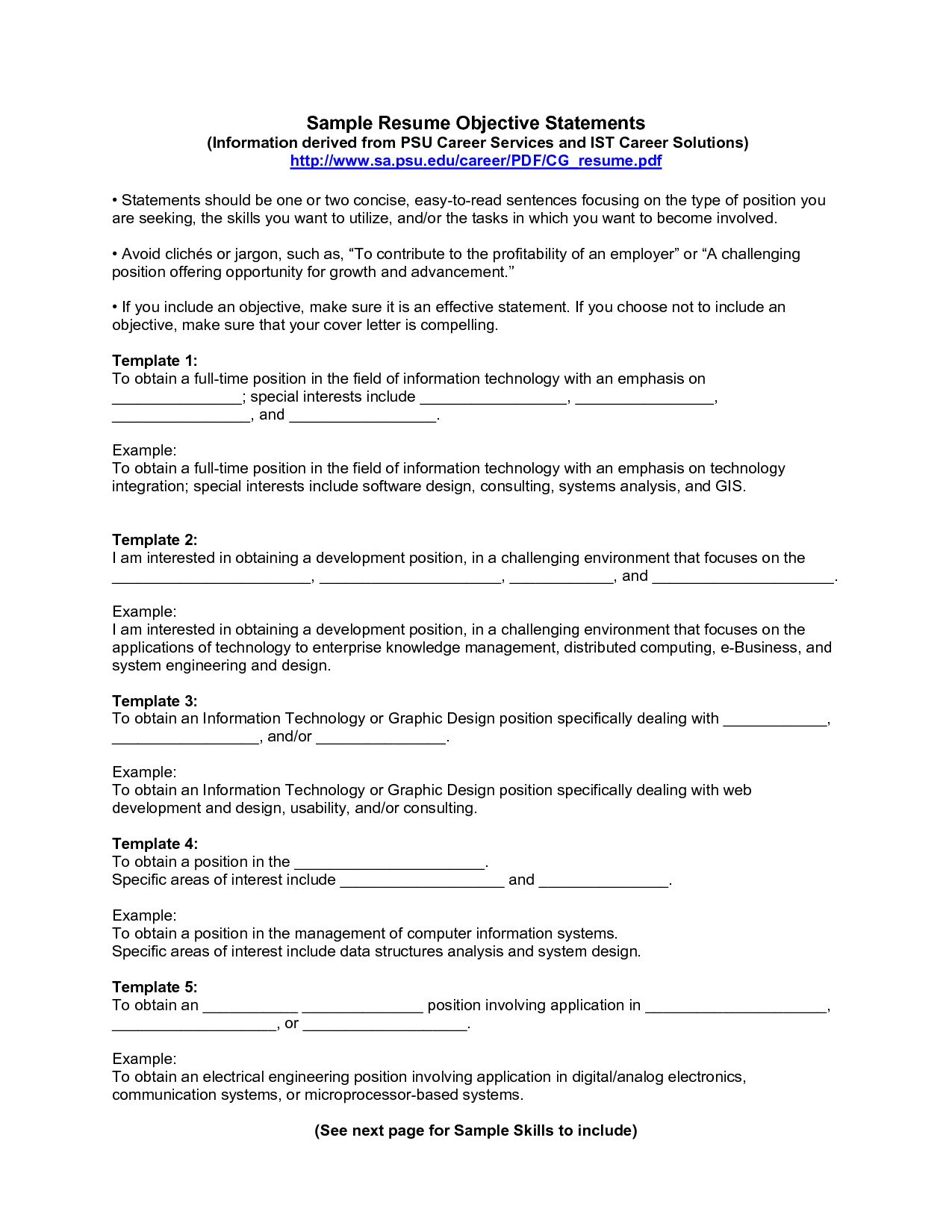 Resume Objective Examples statement and Resume Career Objective statement Examples