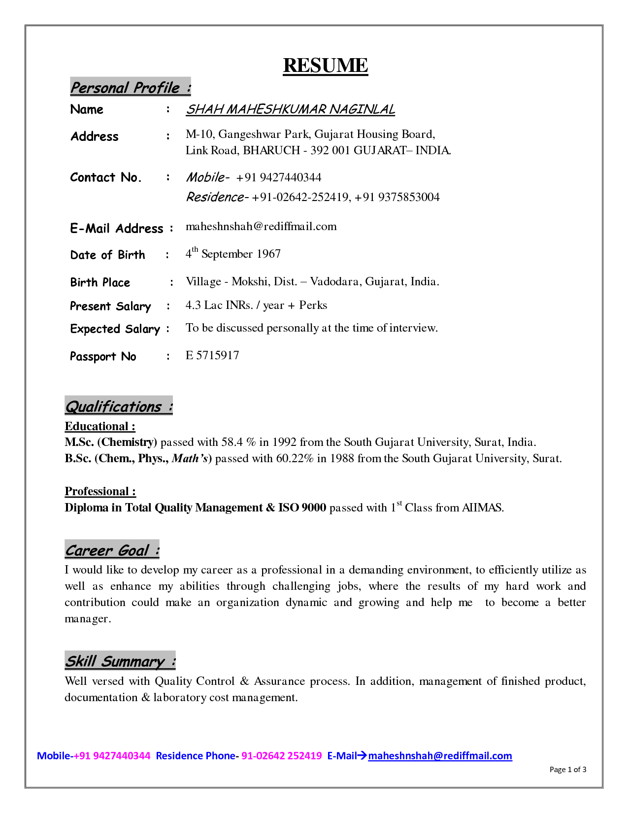 resume profile example free download resume profile