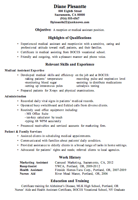 Resume Sample Receptionist or Medical Assistant expertise developed medical skill and efficient