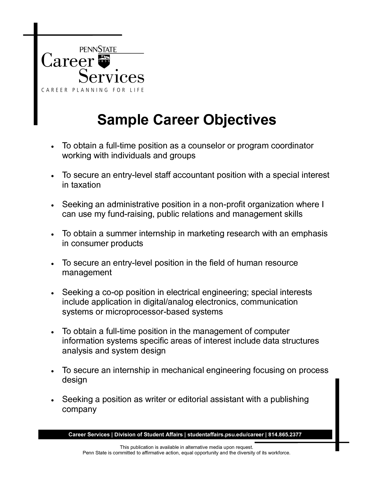 Sample Career Objective Statements some potition ofGallery of Resume Career Objective Examples