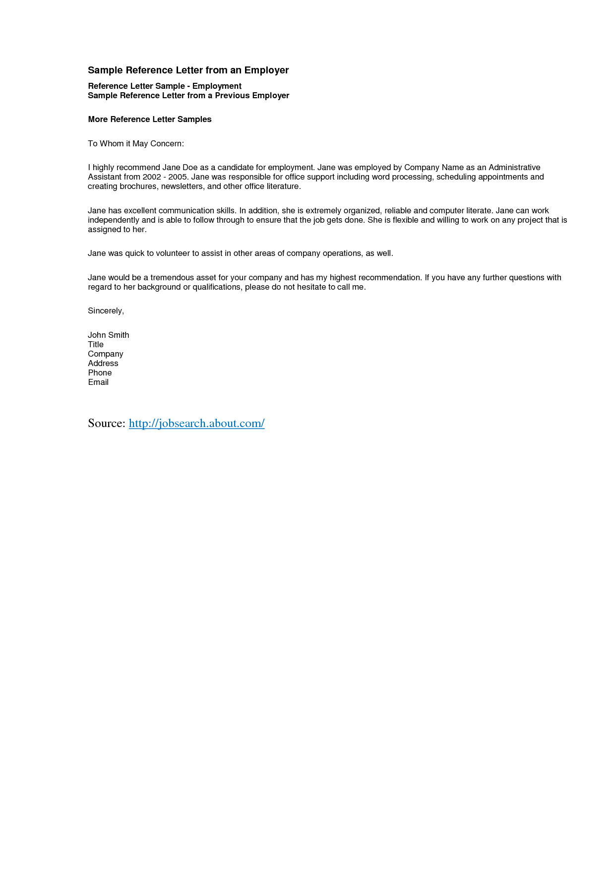 Sample Letter of Good Character reference letter template – Sample Job Reference Letter