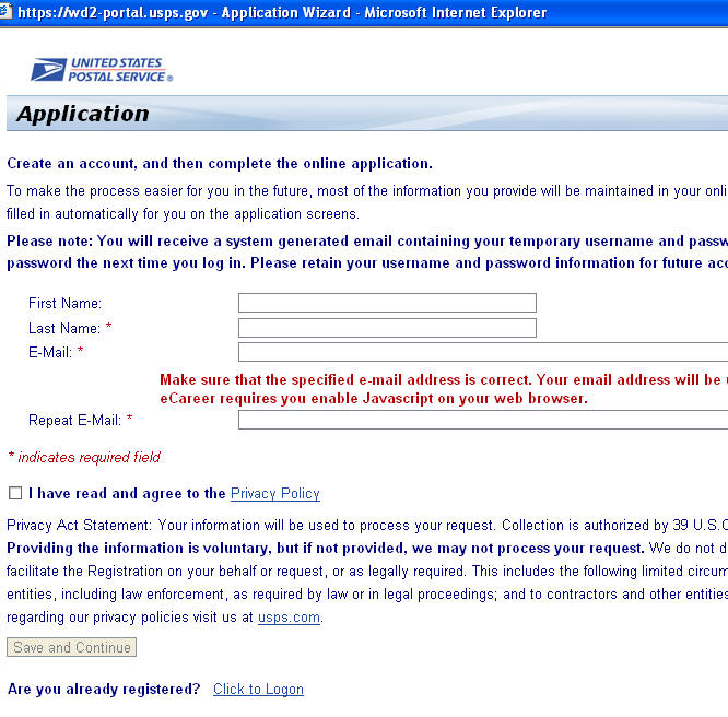 Sample Online Application usps application form