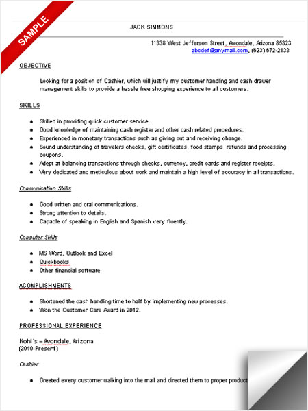 Lovely Sample Cashier Resume Skills Intended Cashier Resume Skills