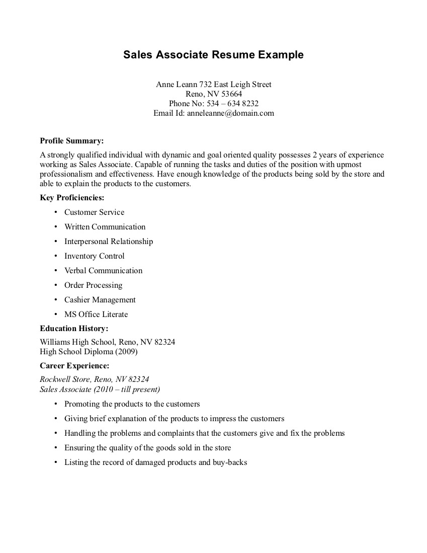 Sample Resume Sales Associate Retail Store Sales Associate Resume ...