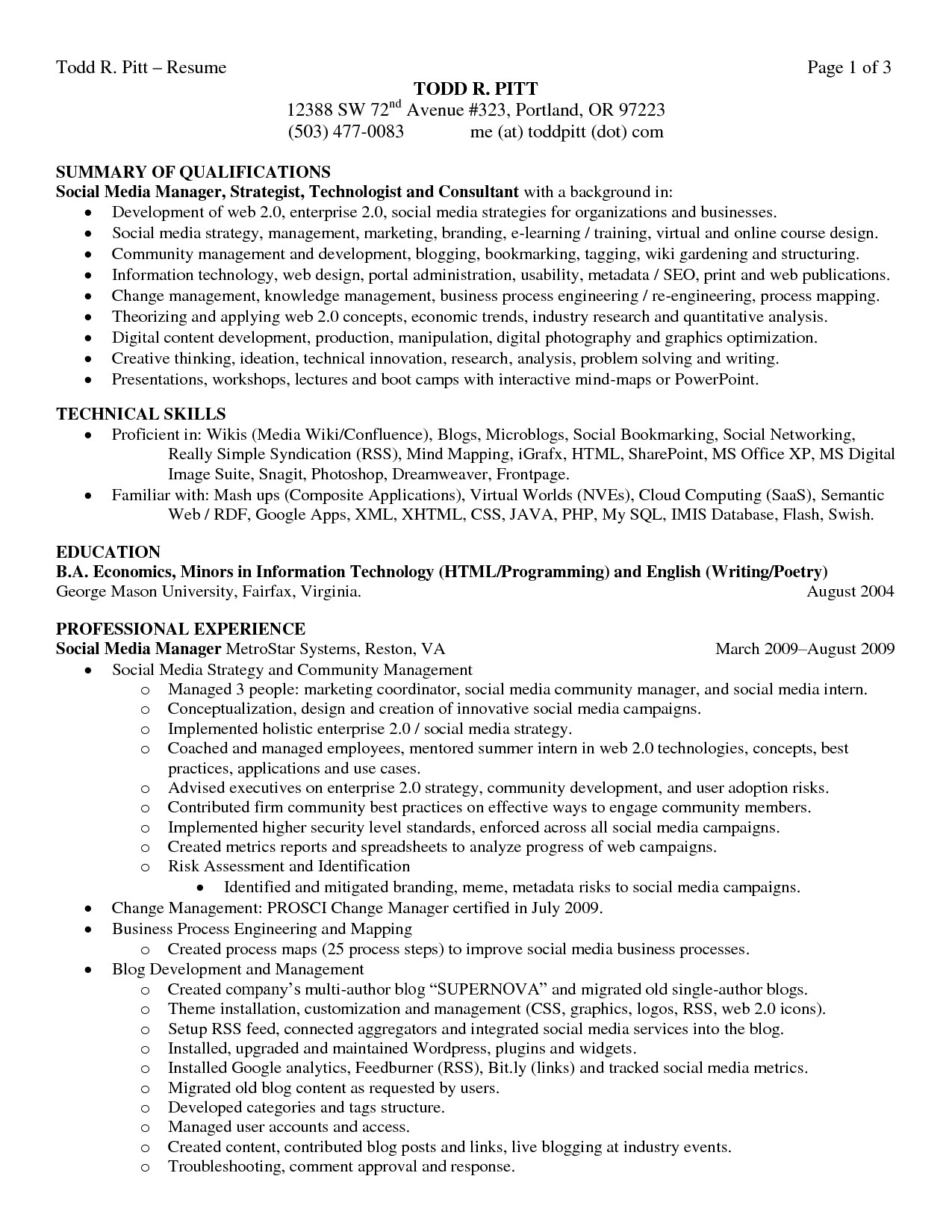 com page of business resume sample resume summary of qualifications technical skills professional experience
