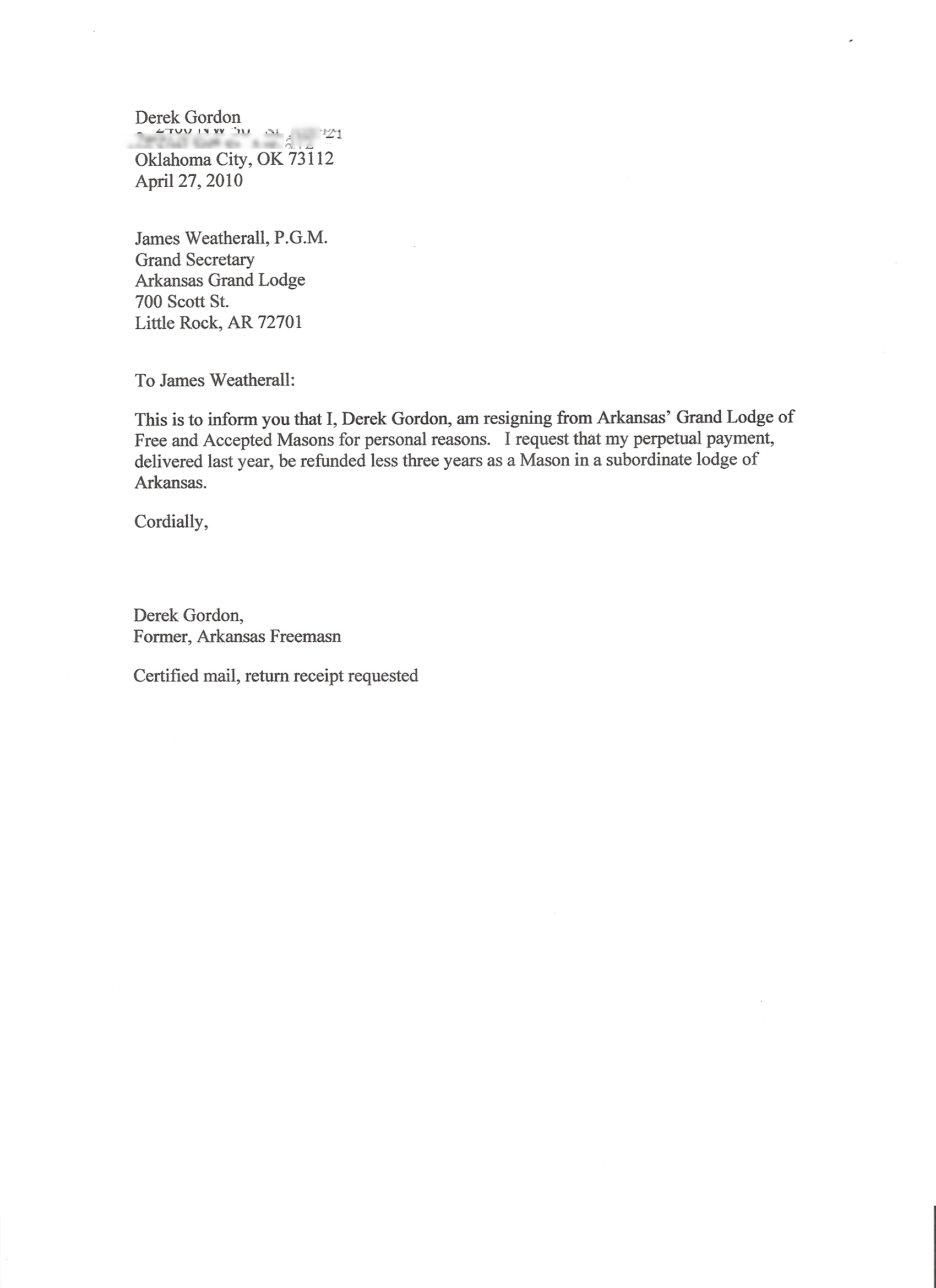 Simple Resignation Letter Resignation Letter example certified mail
