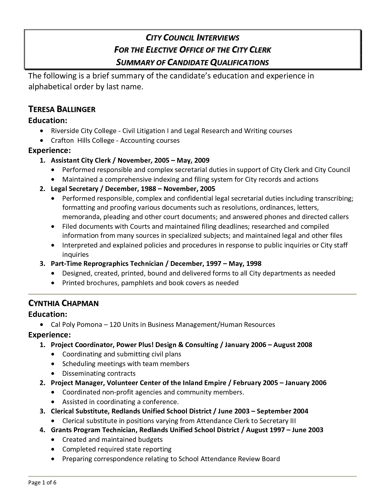 Examples of resume summary of qualifications