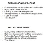 Summary of Qualifications For Students or summary of qualifications for student