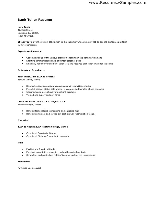 Teller Goals and Objectives free resume samples for bank teller