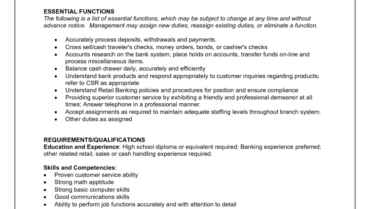 Teller Responsibilities Resume Resume For A Bank Teller