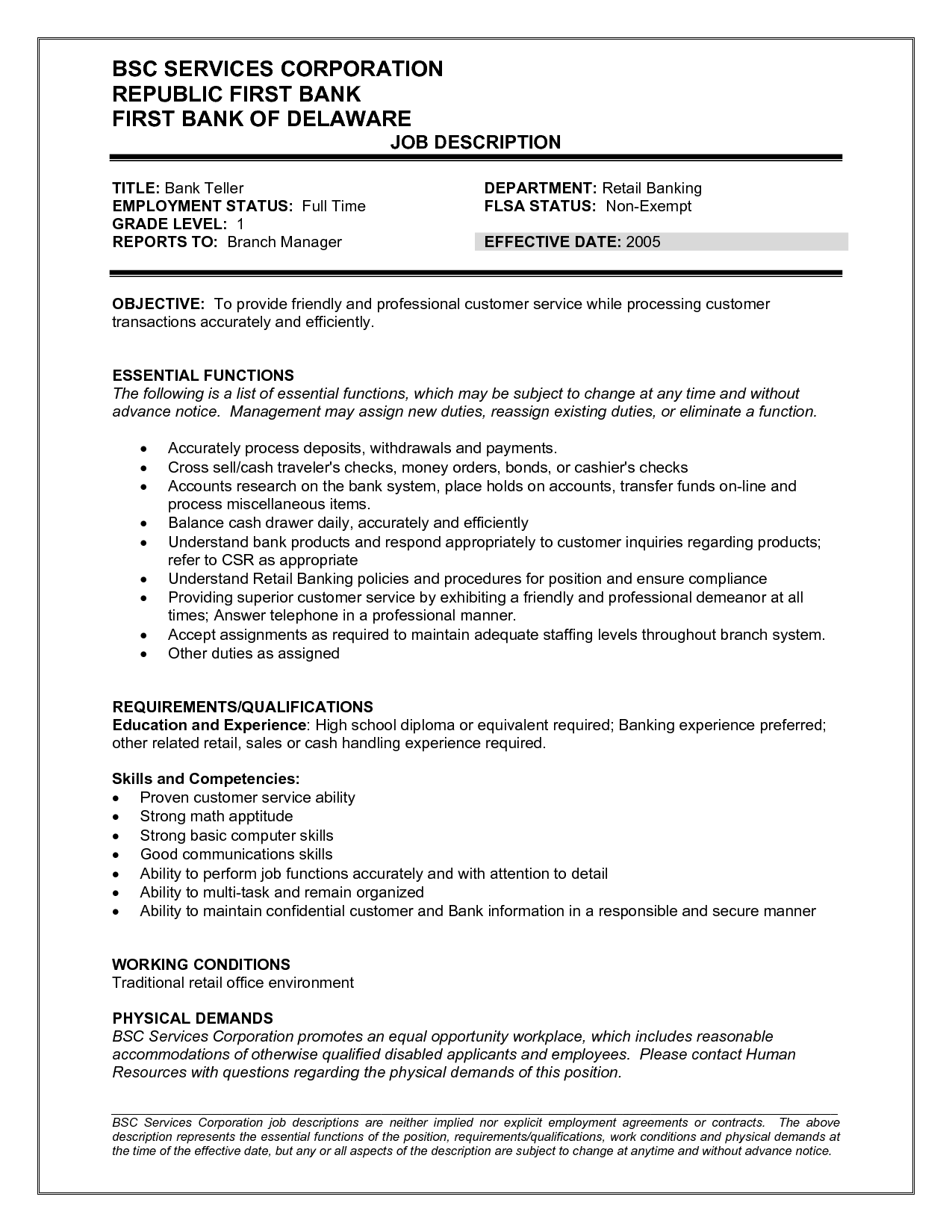 Teller Job Description Resume bank teller job duties and responsibilities