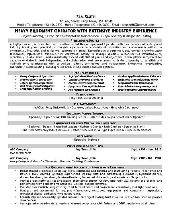 this equipment operator resume sle with extensive