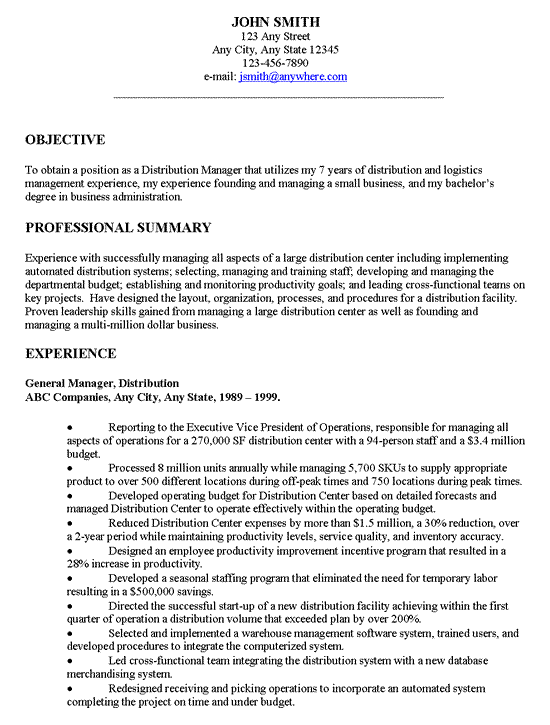 Objective on a resume example