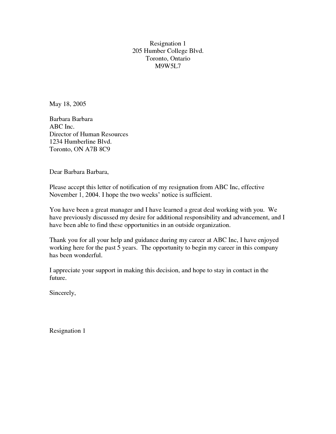 Two Weeks Notice Letter Short two-weeks-notice-template