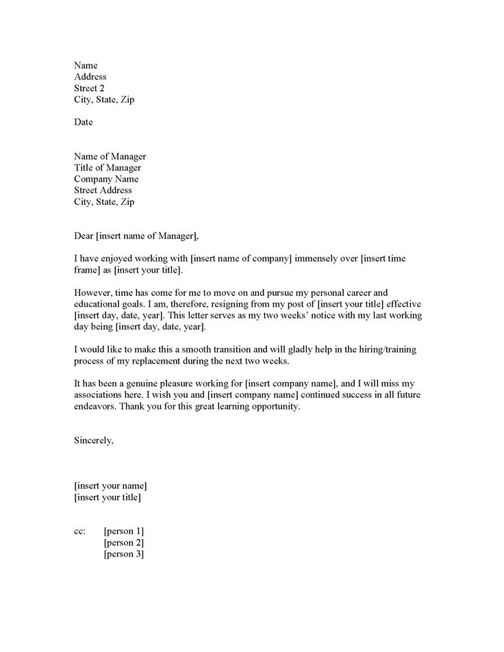 Two Weeks Notice Letter Resignation  SamplebusinessresumeCom
