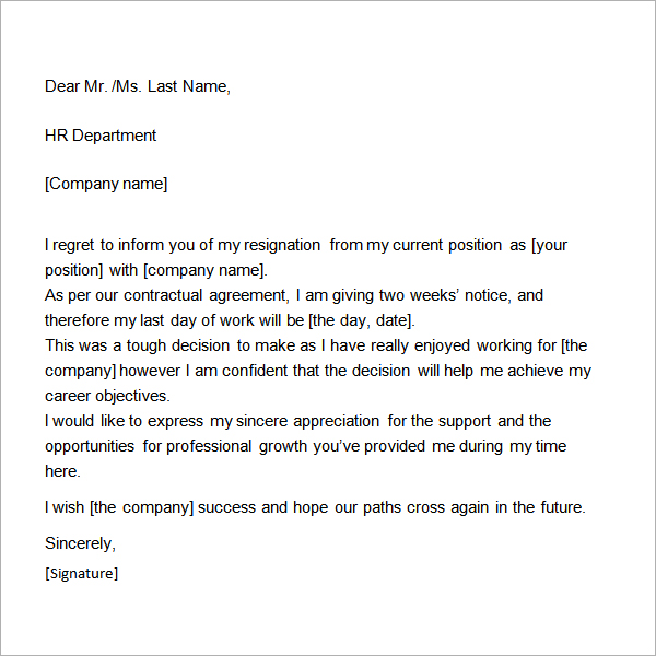 Basic Two Week Notice Resignation Letter Samples 2016