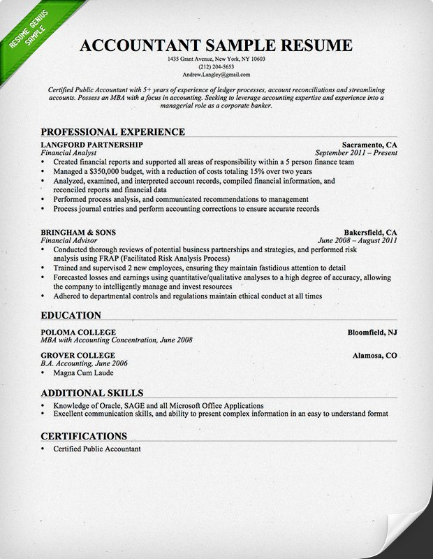 accounting resume format Accountant Resume Sample