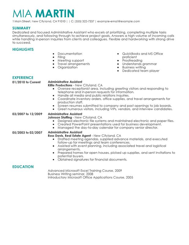 administrative assistant administration and office support administrative assistant resume description by mia martin