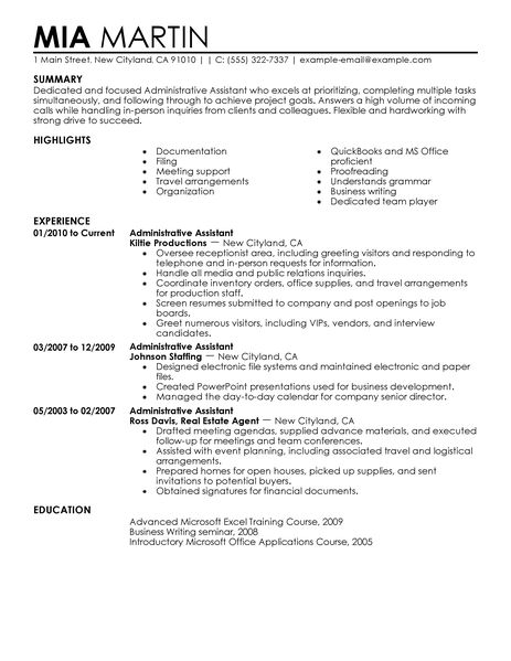 administrative objective resume