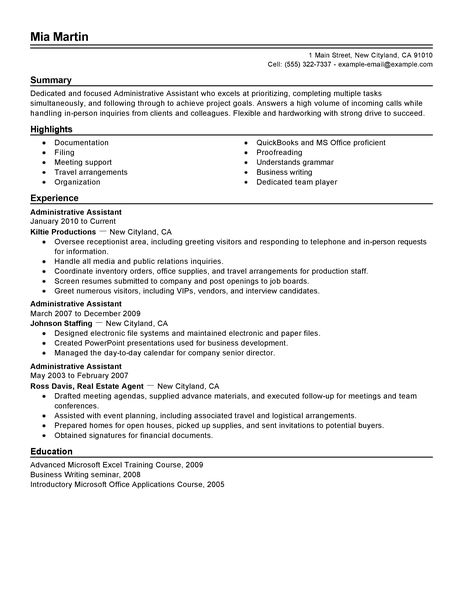 administrative assistant administration office support resume example traditional administrative assistant resume skills by mia martin