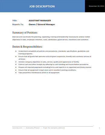 administrative assistant duties and responsibilities pdf assistant manager job description template