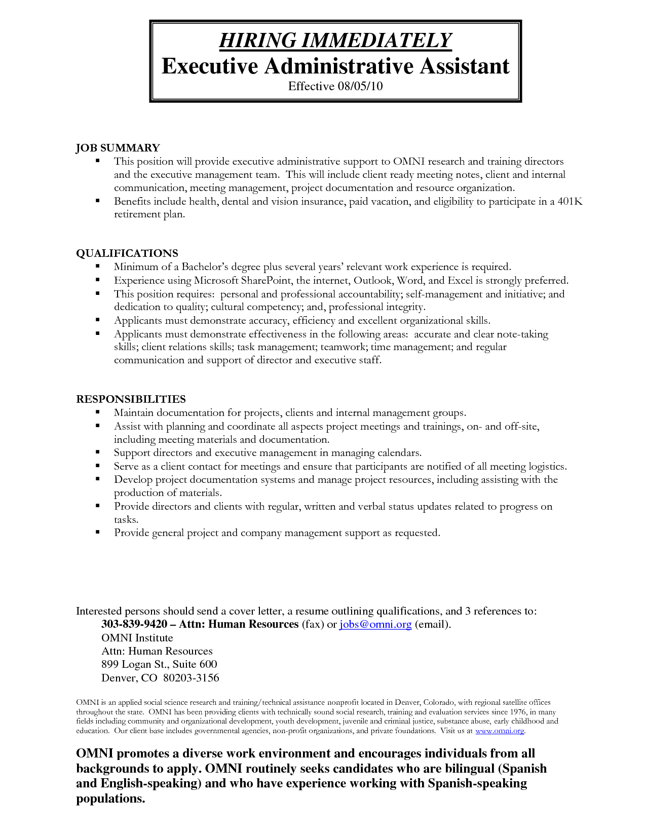 administrative assistant duties construction company
