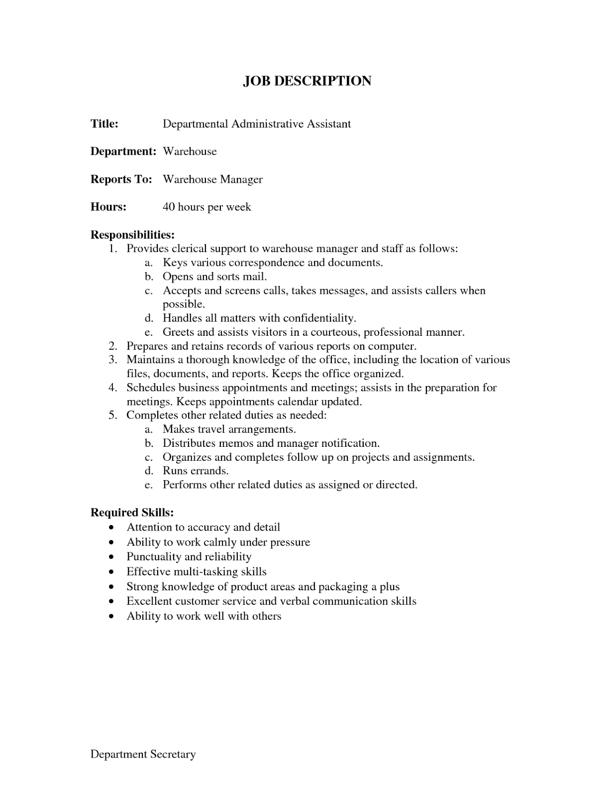 administrative assistant duties resume Job Description for Administrative Assistant for Resume spesific departement Administrative Assistant