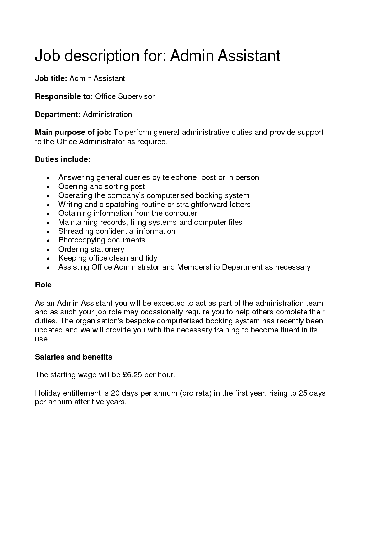 Administrative Assistant Job Description Sample Administrative Assistant  Job Duties For Resume