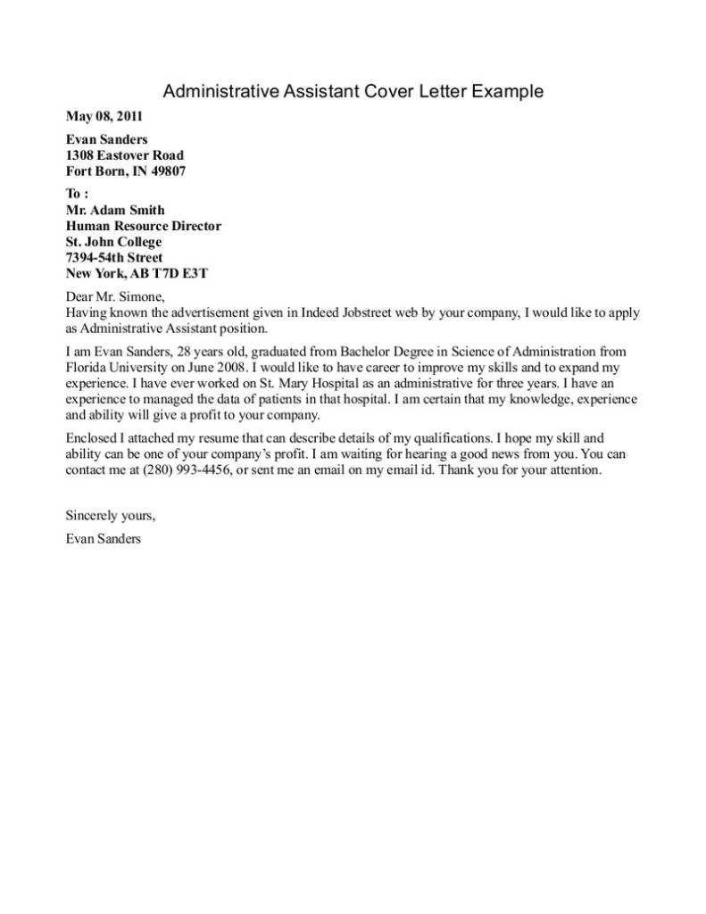 administrative assistant resume cover letter administrative assistant cover letter word