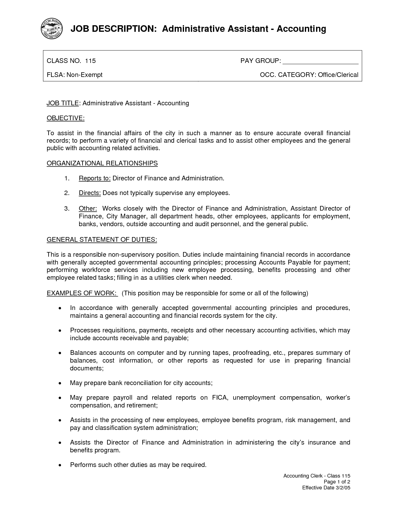 Administrative intern resume