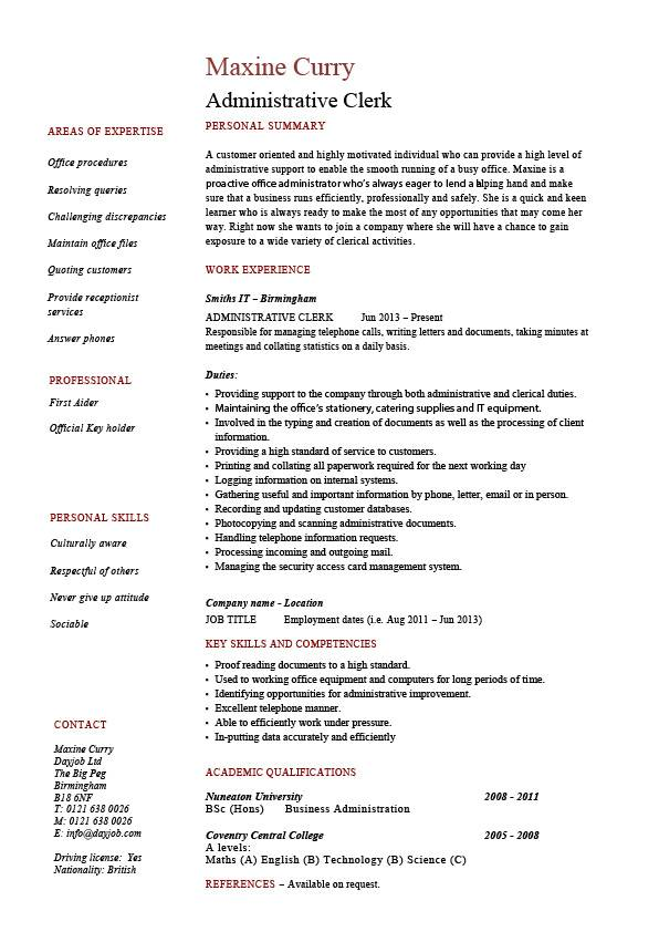 administrative clerk resume template administrative clerk resume sample clerical duties by maxine curry