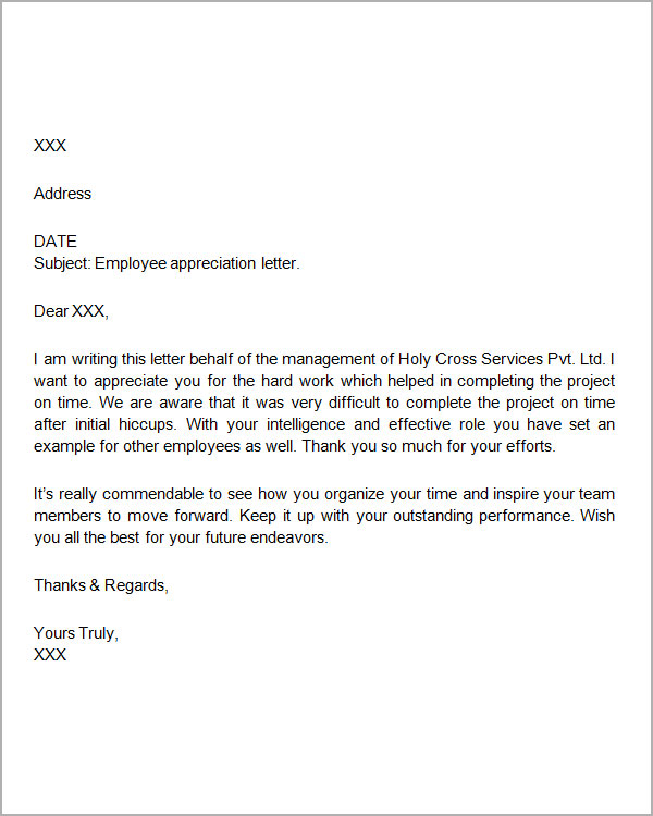 Appreciation Letter To Employee Employee Appreciation Letter Sample