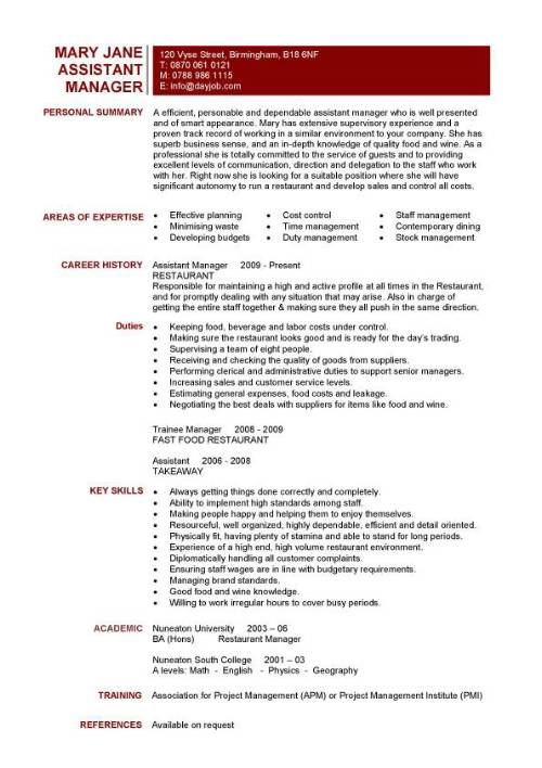 assistant restaurant manager resume objective also Restaurant ...