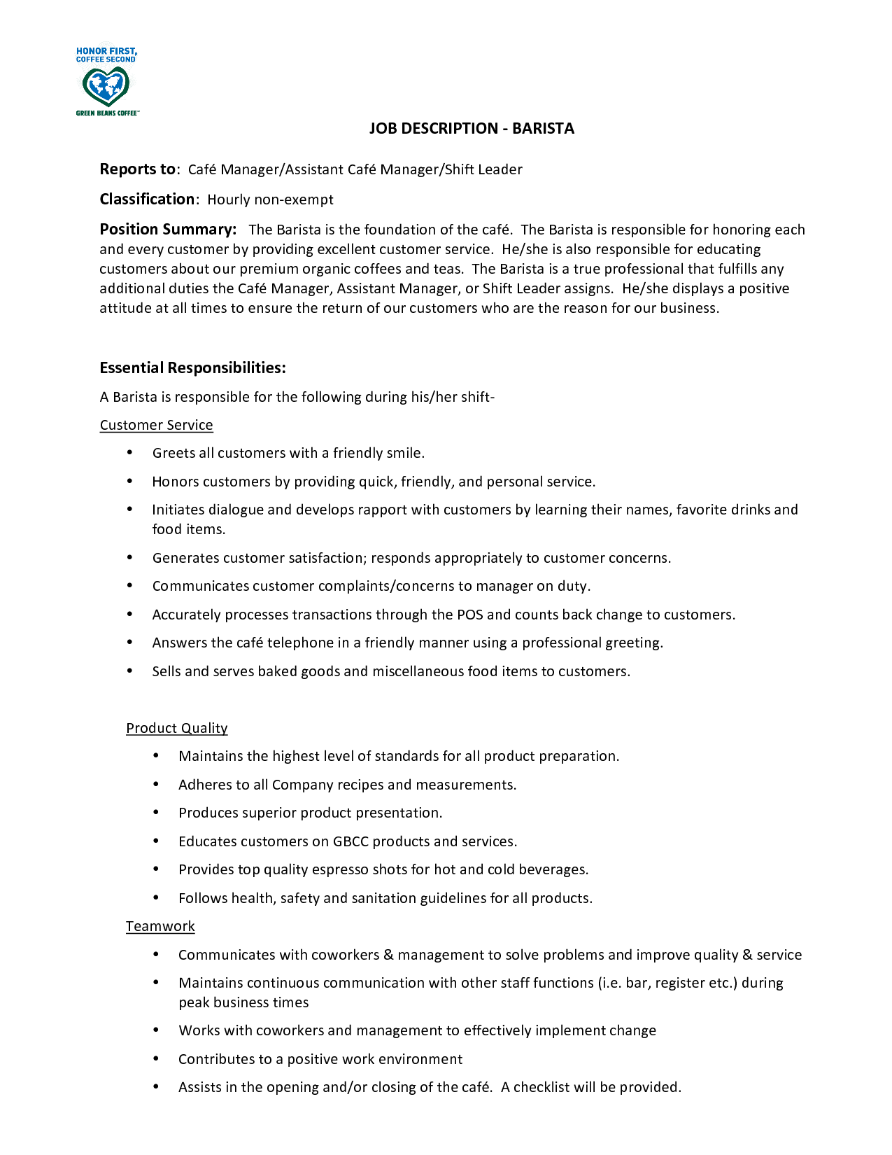 barista job description head barista job description