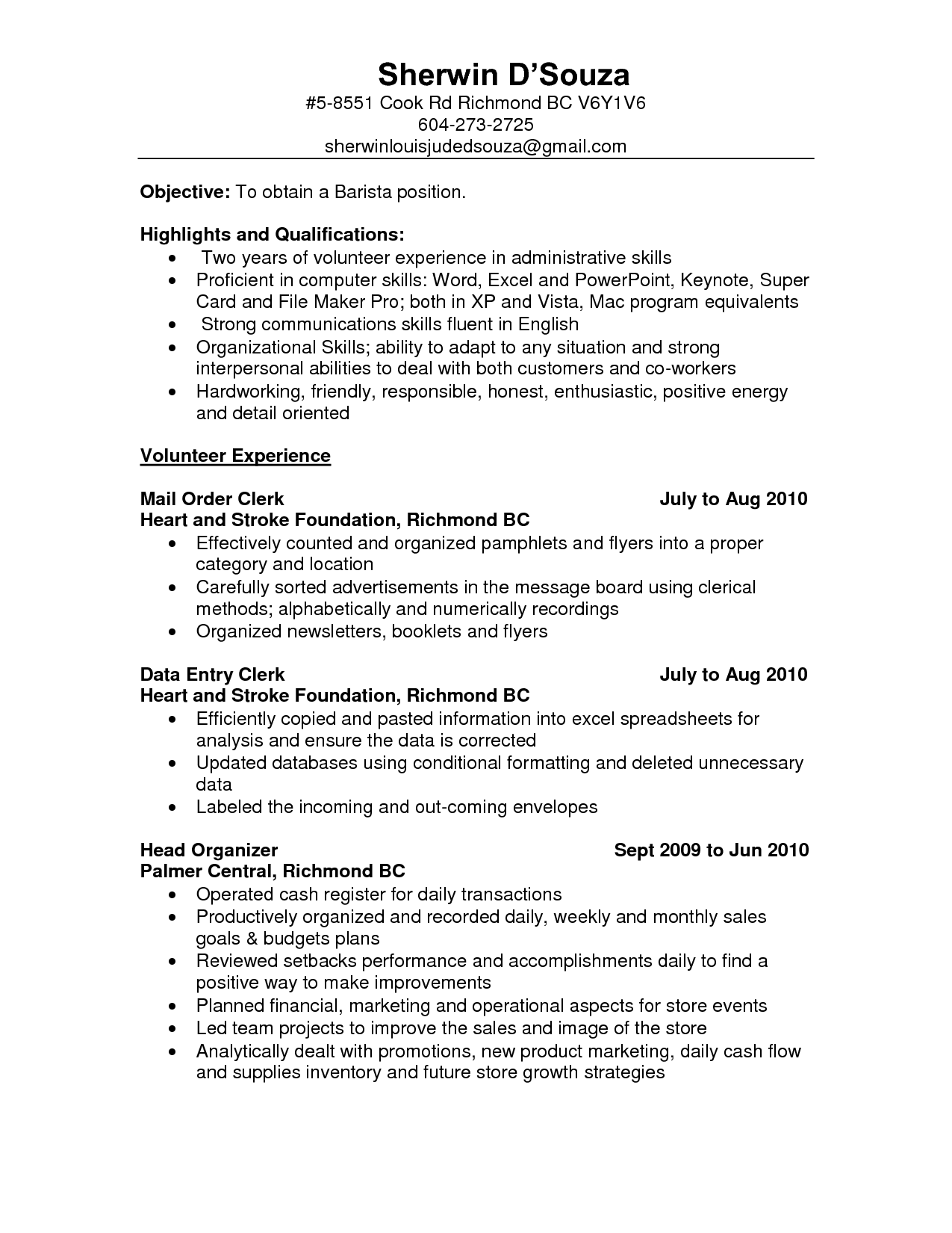 barista job description resume samples
