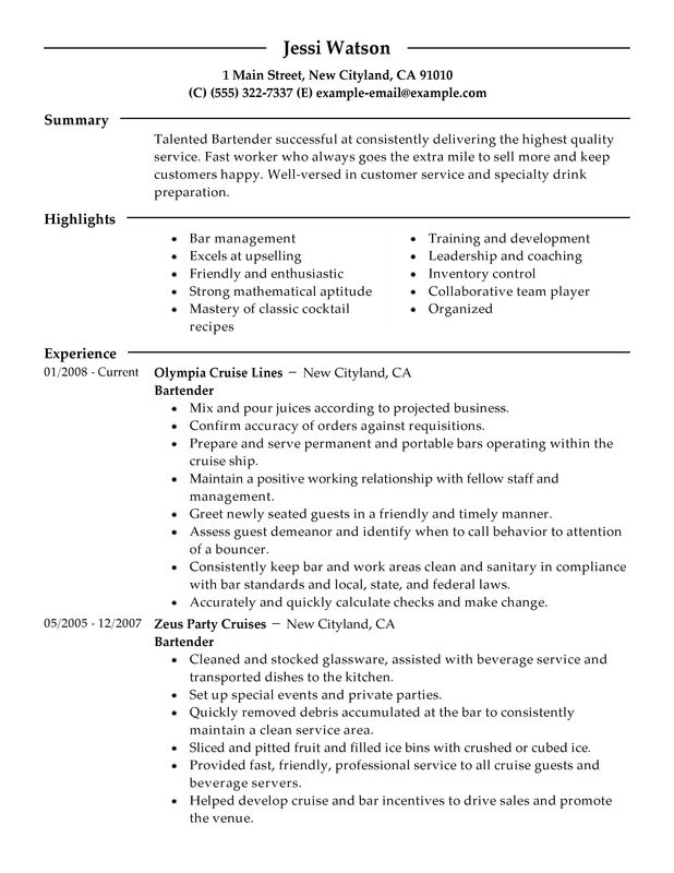 16 Free Bartender Resume Templates - SampleBusinessResume.com ...