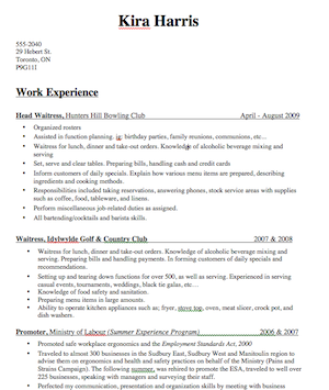 bartender resume description by kira harris
