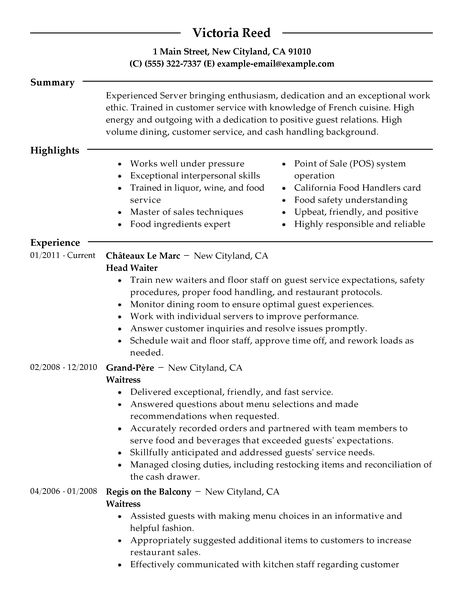 Bartender Resume Example 2015 Professional Restaurant Server Sample By Victoria Reed