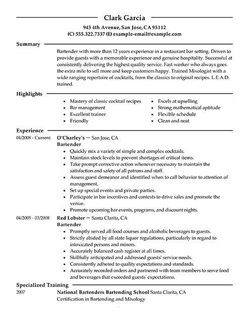 Charming Objective For Bartender Resume Within Bartender Resume Sample