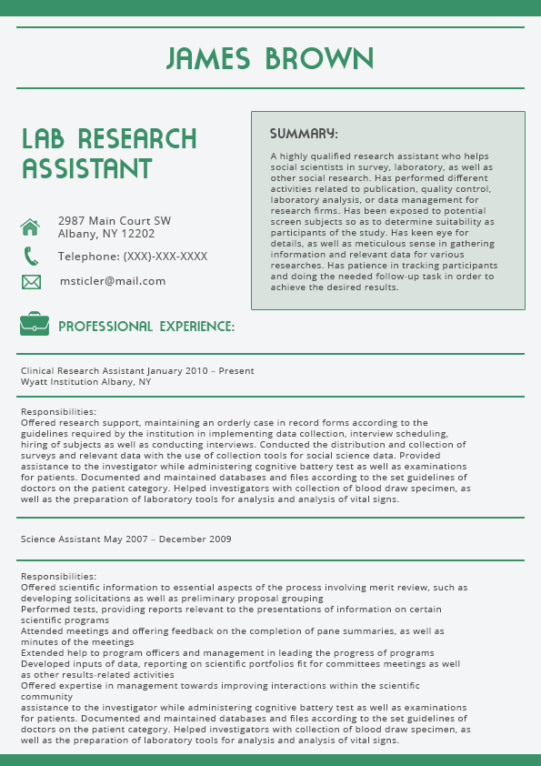 green consultant cover letter - Clinical Research Cover Letter