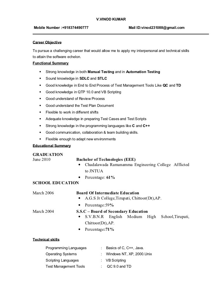 Sample Resume Of Software Tester 17 Best Images About Software