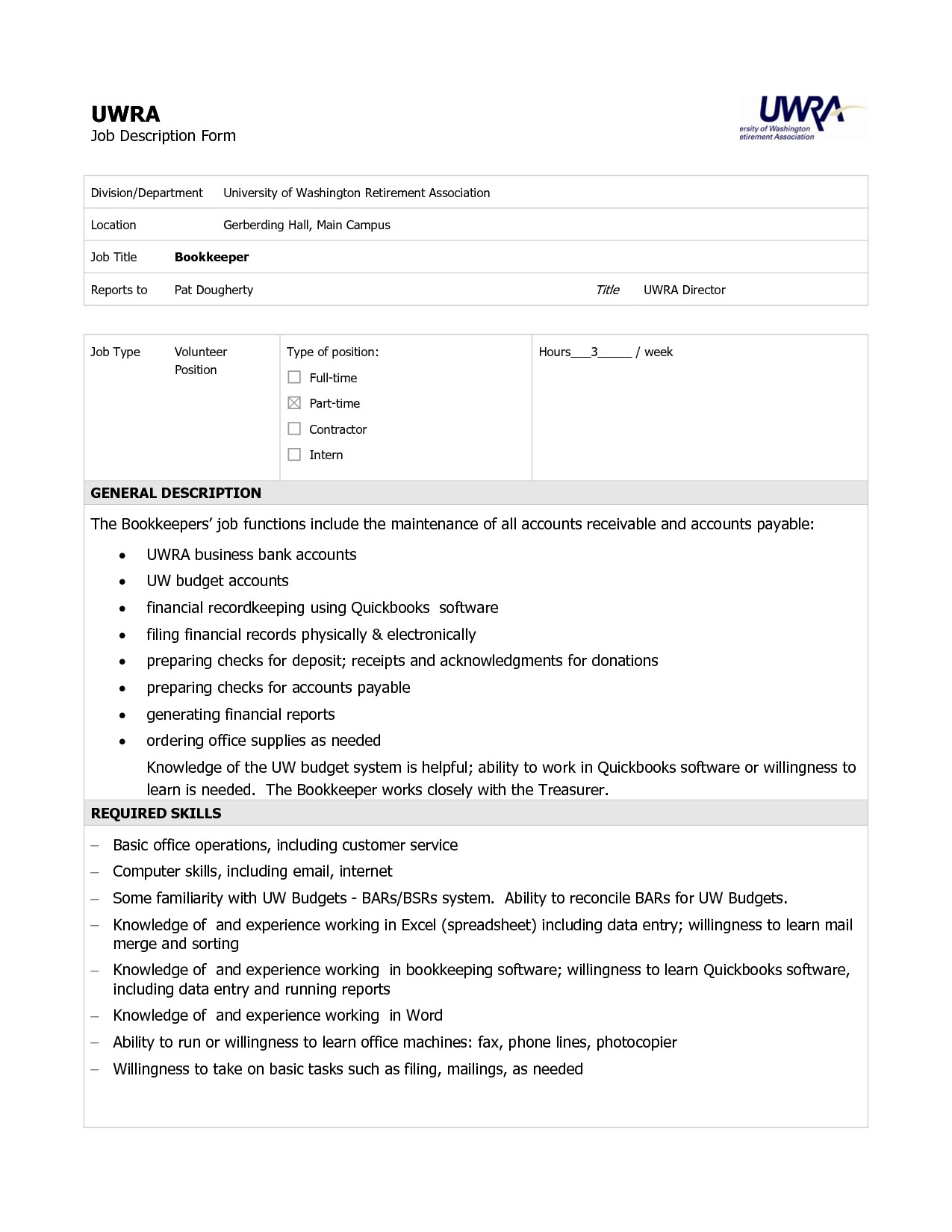 bookkeeper description pdf