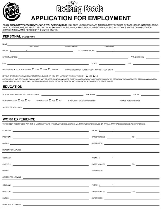 burger king application form burger king jobs applications online nz