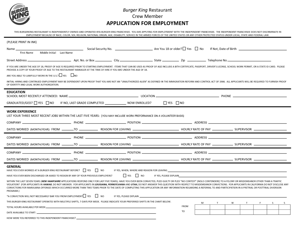 burger king employment job applications