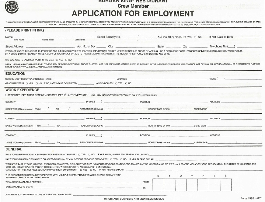 burger king job application burger king job applications printable